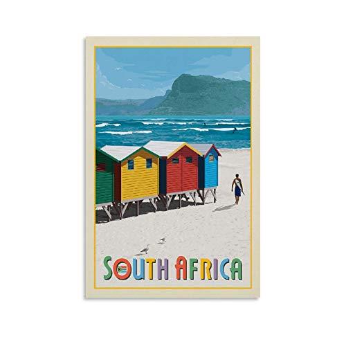 GANZAO Vintage-Reise-Poster, Südafrika, Muizenberg, Strand, Leinwand-Kunst-Poster & Wandkunstdruck, modernes Familienschlafzimmer, 40 x 60 cm