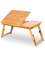 Cocoarm Bambu laptop skrivbord laptop bord lapdesk säng bord frukost servering sängbricka justerbar sängbricka bord med stativ bricka lutningsbar för att skriva arbete servering mat