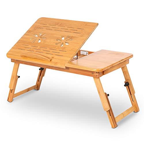Escritorio de bambú para cama para computadora portátil, mesa de cama ajustable con soporte para computadora portátil Mesa de cama para computadora portátil Bandeja de cama para servir el desayuno