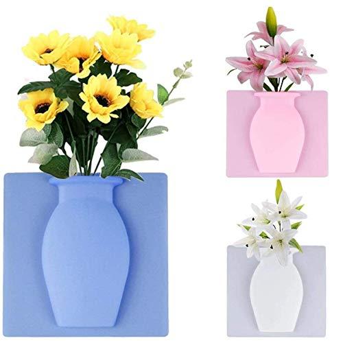 JEANGO Innovative klebrige Silikonvase(3pcs) Weiß magische adsorption weiche Vase Wandfenster Kühlschrank Vase ohne Nägel Wiederverwendung