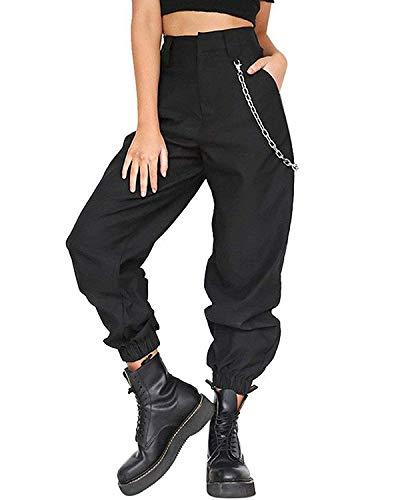 Pantalones De Harén De Para Mujer Holgados Pantalones Hip Mode De Marca Hop Pantalones De Chándal Para Bailar Pantalones De Calle Ocasionales Bloomers Con Una Cadena ( Color : Schwarz , Size : L )