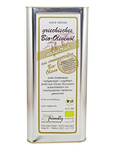 Neue Ernte 2020 direct&friendly Griechisches Bio Olivenöl extra nativ, naturtrüb, ungefiltert, 5 Liter Kanister, Region Mani
