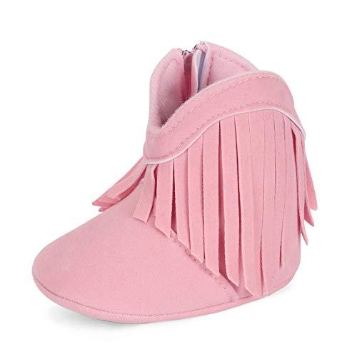 Estamico Baby Girls Cowboy Tassel Boots Pink US 6-12 Months