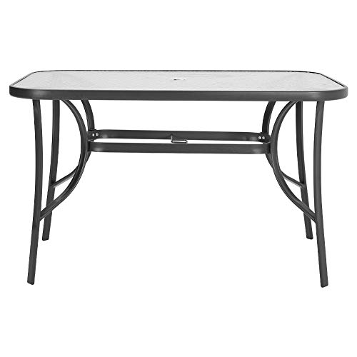 Outdoor Rectangle Dining Table Tempered Glass Top with Parasol Hole for Garden Patio Balcony Backyard Black, 120 * 80 * 72cm