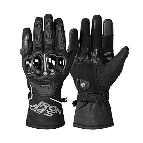 Guantes de Moto de Invierno a Prueba de Viento Impermeables para Hombre Guantes de Montar en Moto Gant Moto Guantes con Pantalla táctil JIA03 Black M