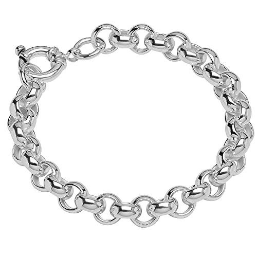 NKlaus Pulsera de plata de ley 925 de 19 cm, cadena de eslabones de 19 cm, hueco, redonda, para hombre