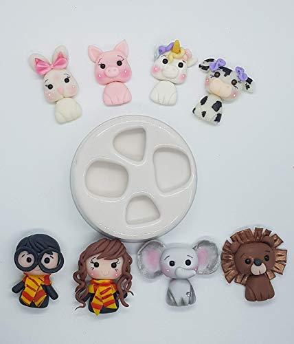 Moldes silicona manualidades harry potter elefante vaca conejo leon apliques porcelana fría