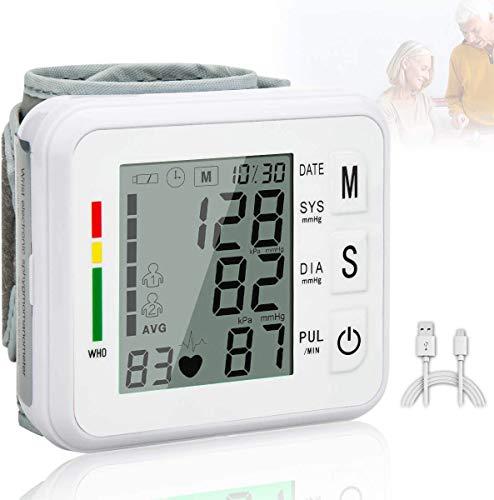 Tensiómetro de Muñeca, Medidor De Monitor De Presión Arterial De Muñeca Digital LCD Tonómetro De Presión Arterial Tensiometro 2 Usuarios