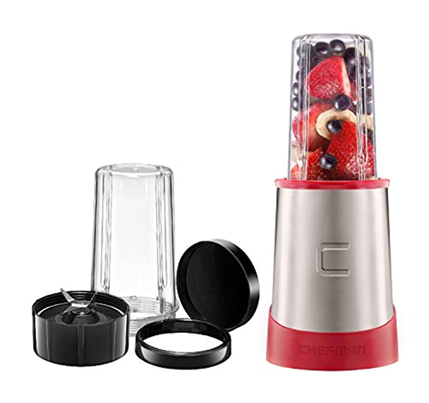 Chefman Ultimate Personal Smoothie Blender, Single Serve, Stainless Steel Blending Blade, 2 Travel Cups with Lids, Solid Storage Cover and Comfort Drinking Rim, 6 Piece - RJ28-6-SS-Red