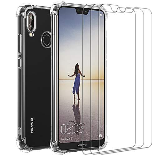 iVoler Custodia Cover per Huawei P20 Lite 2018 + 3 Pezzi Pellicola Protettiva in Vetro Temperato, Ultra Sottile Morbido TPU Trasparente Silicone Antiurto Protettiva Case per Huawei P20 Lite 2018