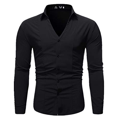 N\P Camisa de manga corta para hombre con solapa en V profunda y costuras inferiores