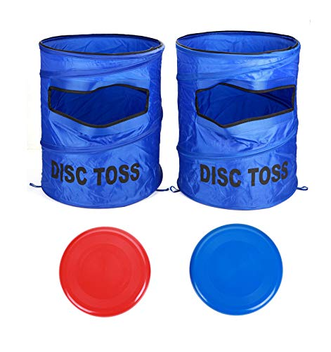 Win SPORTS Folding Disc Toss Game Set, Flying Disc Toss Game Set £¨2 Targets & 2 Flying Disc & Carrying Case£, Kids Adults Fun Game Perfect for Tailgating, Backyard, Family Parties, BBQs (Blue)