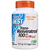 Doctor's Best, Trans-Resveratrol with Resvinol, Non-GMO, Vegan, Gluten Free, Soy Free, 100 mg, 60 Veggie Caps (DRB-00171)
