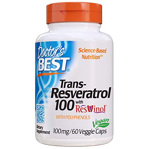 Doctor's Best, Trans-Resveratrol with Resvinol, Non-GMO, Vegan, Gluten Free, Soy Free, 100 mg, 60 Veggie Caps