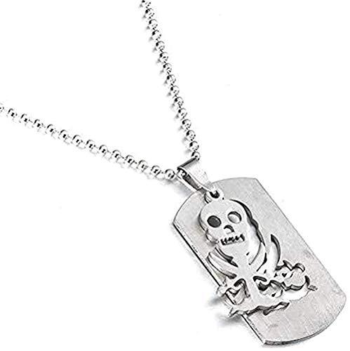 Collar Charm Esqueleto Etiquetas para Perros Piratas del Colgante Acero Inoxidable para Hombres y Mujeres Collares Cadena de Acero Inoxidable Collar Colgante Regalo para Mujeres Hombres Niñas Niños