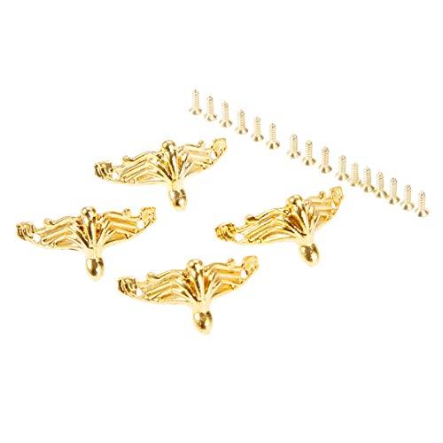 Die Halterung ist auf rechten Winkeln und Ecken befestigt 4Pcs 26 * 19mm Gold dekorative Corner Bracket Möbel Schmuck Holzkiste Füße Möbel Fuß Eckenschutz Metal Crafts