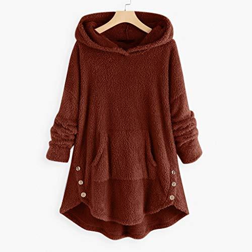 Hffan Damen Herbst Winter Kapuzenpullover Hoodie Pullover Teddy-Fleece Mantel Langarmshirt Sweatshirt Mit Kapuze