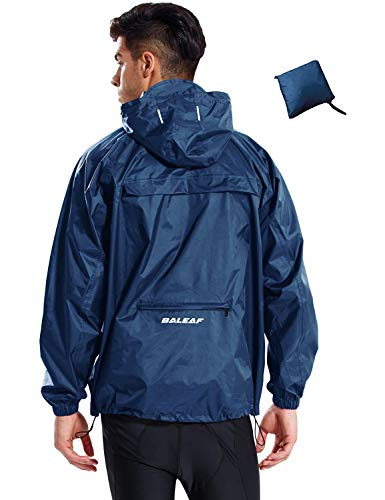 BALEAF Men's Rain Jacket Waterproof with Hooded Lightweight Packable Bike Pullover Running Raincoat Poncho Windbreaker Navy Size L