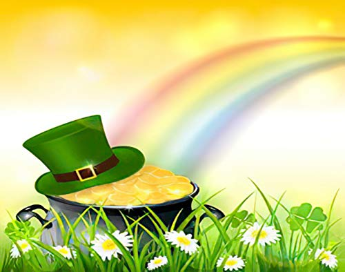 SETUYCR Happy St. Patrick's Day 5D DIY Diamond Painting Kits Leprechaun Hat Gold Coins Clover Rainbow on Grass Counting Set for Adults Full Drill Rhinestone Craft Arts Home Wall Decoration 16' X 20'