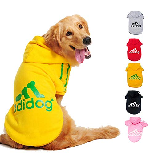 Ducomi Felpa per Cani Adidog con Cappuccio in Morbido Cotone - Vestito Cane Taglia XS - 8XL e Ampia Scelta di Colori - Spedito dall'Italia (M, Yellow)