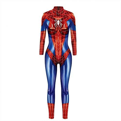 K&K Halloween Kostüme für Damen, Damen Spiderman 3D Digital Print Eng anliegender Kostüm Body mit Rückendruck - Sexy Kostüm Overall weiblich,M
