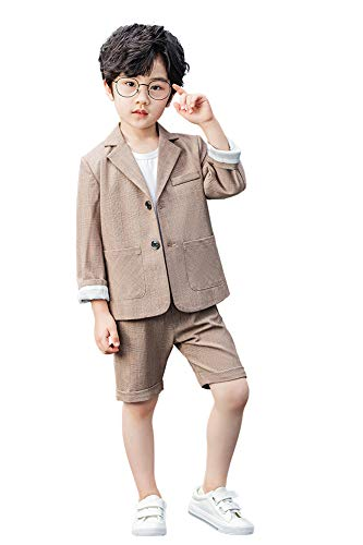 Conjunto de Traje de 2 Piezas para niños Conjunto de Blazer y Pantalón Cortos Caqui a Cuadros para niños, Ropa de Ocio o Vestido de Fiesta de Boda, Caqui, 160