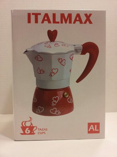 Italmax Heart Pattern Red and White Stove Top 6 Cup Espresso Coffee Maker