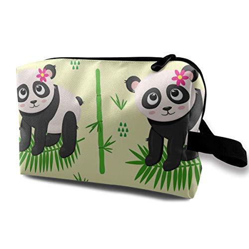 Trousse de Toilette Accories pour Femmes Panda et Organisateur de Fleurs avec Fermeture éclair