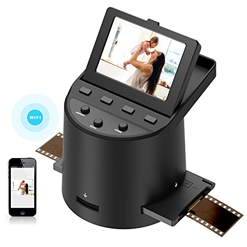 Wireless Digital Film Scanner with 22MP, Converts 35mm, 126, 110, Super 8 Films, Slides, Negatives to JPEG, Tilt-Up 3.5' Large LCD, Transfer Pictures to Phones Via WiFi Connection, MAC &PC Compatible