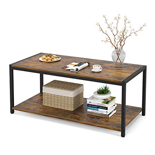 Coffee Table, 43' Industrial Coffee Table for Living Room, Retro Central Table with Shelf, Wooden...