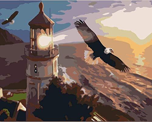 CHOUJJ Adulto Dibujo Digital Pintura de la Pared Arte Faro águila Animal Paisaje el mar 16 * 20 Pulgadas Lienzo de Lino - DIY Pintura Digital por números Kits sobre Lienzo