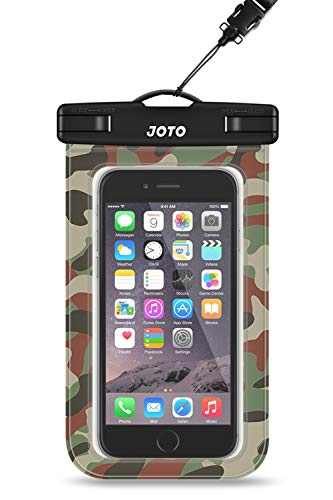 JOTO Bolsa Estanca Móvil Universal, Funda Impermeable para iPhone 12 Mini/Pro/Pro MAX/11/XS/XR/8 Plus/7 Plus, Galaxy Note10+/S20 Ultra/S20+/S10e, Huawei hasta 6,9' Diagonal -Camuflaje