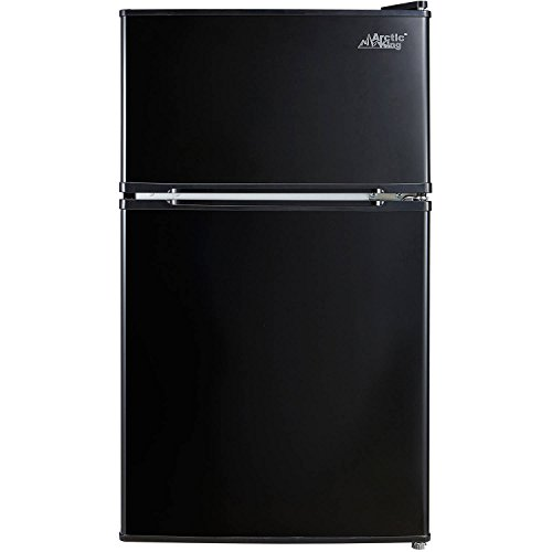 Arctic King - [ATMP032AEB] 3.2 Cubic Feet Two Door Mini Refrigerator with Freezer, (Black)