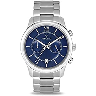 Vincero Luxury Men's Bellwether Wrist Watch - Blue dial with Silver Stainless Steel Watch Band - 43mm Chronograph Watch - Japanese Quartz Movement