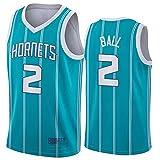 CYYX Jerseys de Baloncesto para Hombres, NBA Charlotte Hornets # 2 Lamelo Ball Classic Jerseys Retro Bordado Fitness Tank Top Sports Top Sports Top,1,M