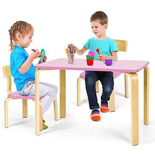 COSTWAY Sitzgruppe Kinder, 3tlg. Kindersitzgruppe, Kindermöbel aus Holz, Kindertisch mit 2 Kinderstühlen, Kindertischgruppe (pink)