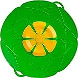 Kochblume L 29 cm Silikon Limette Überkochschutz für Töpfe und Pfannen | Überkochstopp und Spritzschutz für Topfgrößen von Ø 14 bis 24 cm | Set mit Microfasertuch!