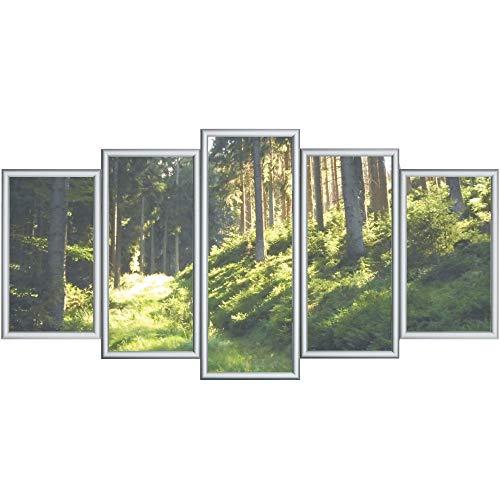 RAABEC Bilderrahmen für Polyptychon Malen nach Zahlen Bilder z.B. von Schipper, 5 Teile fertig montiert, Farbe Silber