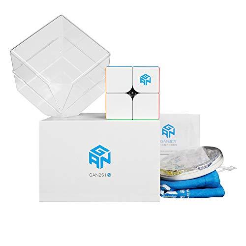 GAN 251M, 2x2 Magnetic Speed Cube Gans 251 M Mini Cube(Stickerless), Flagship 2019