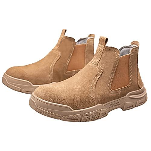 Zapatos de trabajo Hombres Botas de seguridad altas - Soldador Soldadura Botas de seguridad protectora: cuero de gamuza resistente a alta temperatura - Punción de punta y calzado de tobillo sin desliz