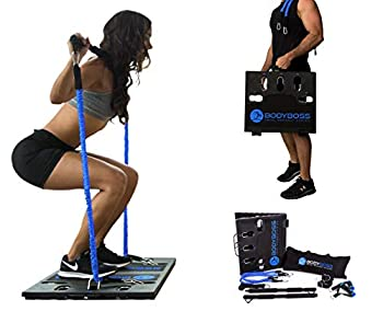 BodyBoss Home Gym 2.0 - Full Portable Gym Home Workout Package + 1 Set of Resistance Bands - Collapsible Resistance Bar Handles - Full Body Workouts for Home Travel or Outside - Blue