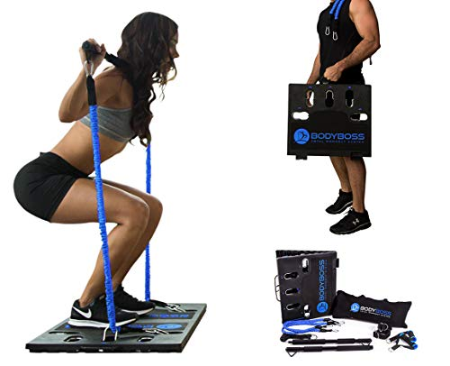 BodyBoss Home Gym 2.0 - Full Portable Gym Home Workout Package + 1 Set of Resistance Bands - Collapsible Resistance Bar, Handles - Full Body Workouts for Home, Travel or Outside - Blue