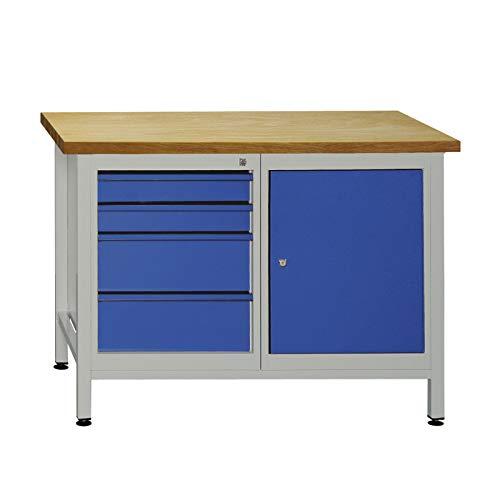 ADB Werkzeugtisch Werkbank Werkstatt Arbeitstisch Werktisch 4 Schubladen 1 Tür Werkstatteinrichtung Zubehör Werkstatt ohne Rollen