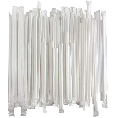 Disposable Plastic Drinking Straws - Individually Paper Wrapped (Clear, 500)