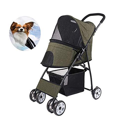ZUQIEE Cochecito del Animal doméstico for el Perro Cochecito Gato Cachorro del Basculador de la Carretilla Carrier 4 Ruedas Choque Impermeable y Transpirable absorción (Color : Green)