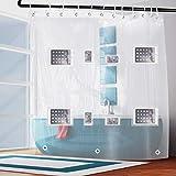 Transparenter wasserdichter Duschvorhang mit 8 Taschen für Tablet- oder Handyhalter