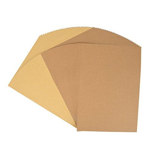 Kraftpapier, 50 Blätter, 25 Blätter Dunkelbraun + 25 Blätter Hellbraun, DIN A4, Naturkarton, hochwertige Qualität, Brown Natural Kraft Card, Kraftkarton 260 g Qualität
