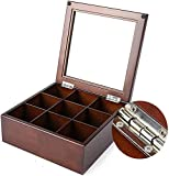 YUNLILI Mostrar Pantalla Almacenamiento 9 Relojes Caja de Reloj de Madera Caja de Reloj con Tapa de Vidrio para Ver el Almacenamiento de Joyas