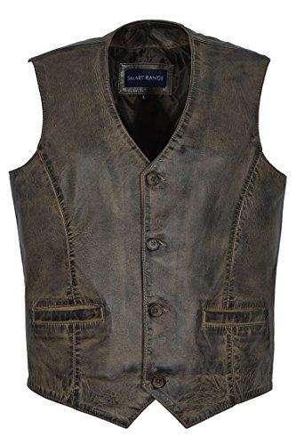 Smart Range 5226 - Chaleco de piel de cordero suave para hombre Marrón Marrón Sucio L