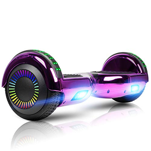 """CHIC Hoverboard, 6.5"""" Self Balancing Scooter Hover Board with UL2272 Certified Wheels LED Lights for Kids Adults(C01Black)"""